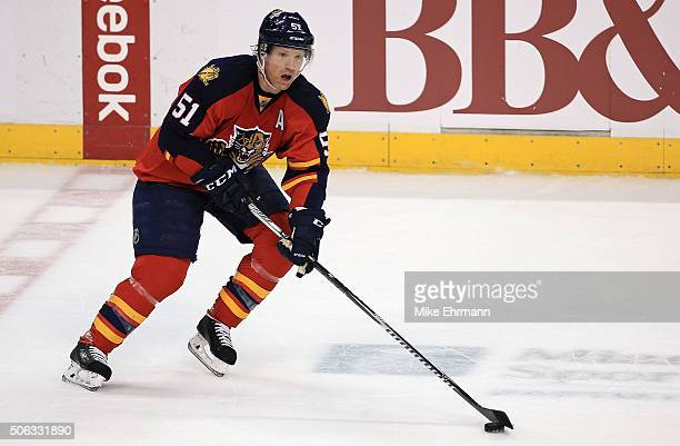 Brian Campbell of the Florida Panthers looks to pass during a game against the Chicago Blackhawks at BBT Center on January 22 2016 in Sunrise Florida