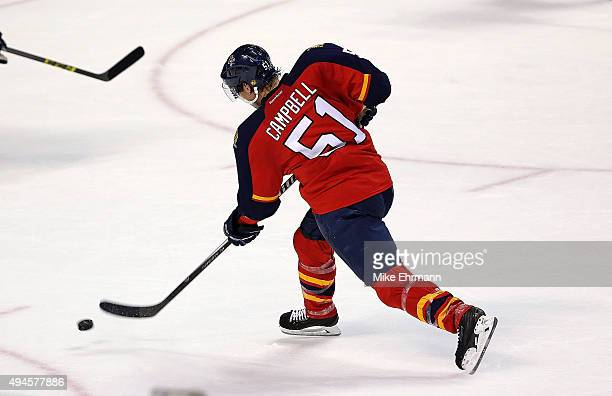 Brian Campbell of the Florida Panthers scores a goal during a game against the Colorado Avalanche at BBT Center on October 27 2015 in Sunrise Florida
