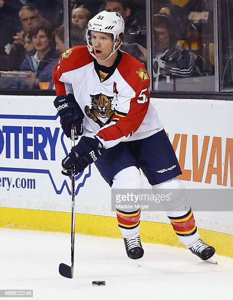 Brian Campbell of the Florida Panthers skates against the Boston Bruins during the third period at TD Garden on March 31 2015 in Boston Massachusetts...