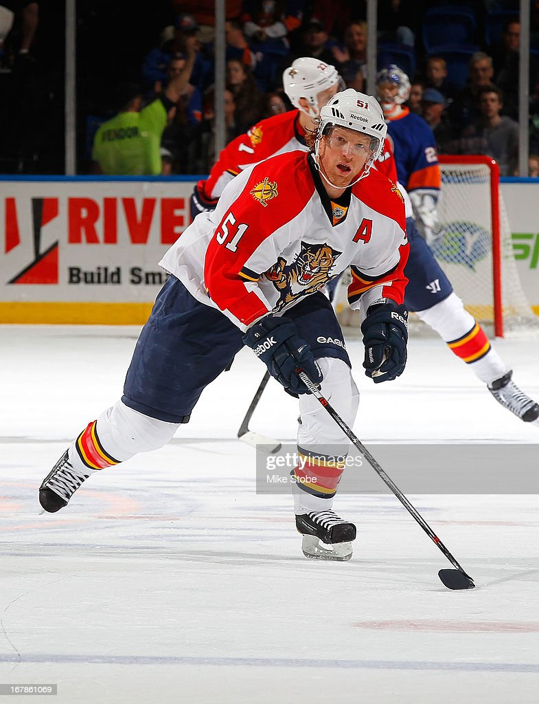 Brian Campbell #51 of the Florida Panthers skates against the New York Islanders at Nassau Veterans Memorial Coliseum on April 16, 2013 in Uniondale, New York. The New York Islanders defeated the Florida Panthers 5-2.