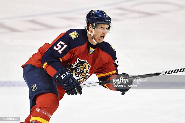 Brian Campbell of the Florida Panthers skates during a NHL game against the Washington Capitals at the BBT Center on October 31 2015 in Sunrise...