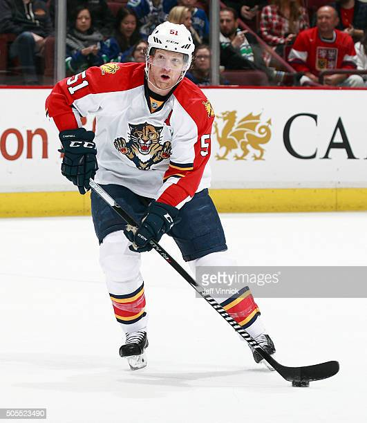 Brian Campbell of the Florida Panthers skates up ice during their NHL game against the Vancouver Canucks at Rogers Arena January 11 2016 in Vancouver...