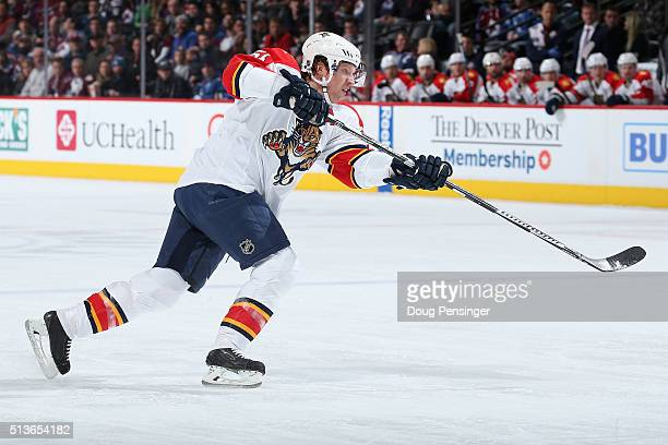 Brian Campbell of the Florida Panthers takes a shot against the Colorado Avalanche at Pepsi Center on March 3 2016 in Denver Colorado The Avalanche...