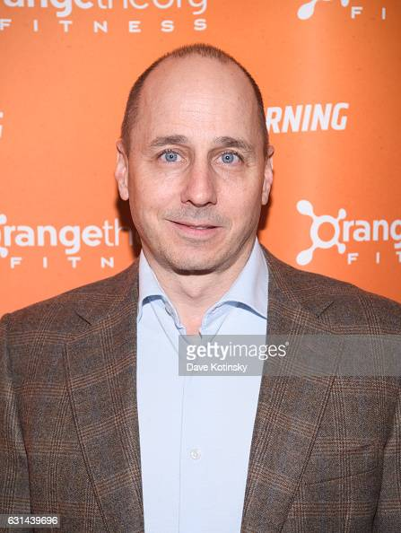 Brian Cashman arrives at the Orangetheory Fitness VIP Grand Opening Party at Orangetheory Fitness Astor Place on January 10 2017 in New York City