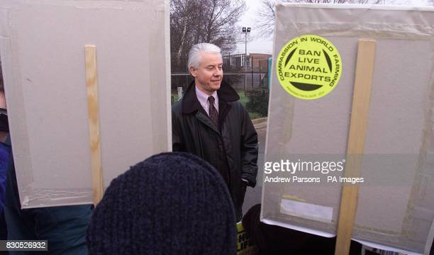 Brian Cass managing director of Huntingdon Life Sciences talks to protesters and members of the public during a demonstration outside the firm in...