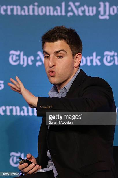 Brian Chesky CEO and CoFounder AirBNB speaks to the audience during the International New York Times Global Forum Singapore Thomas L Friedman's The...