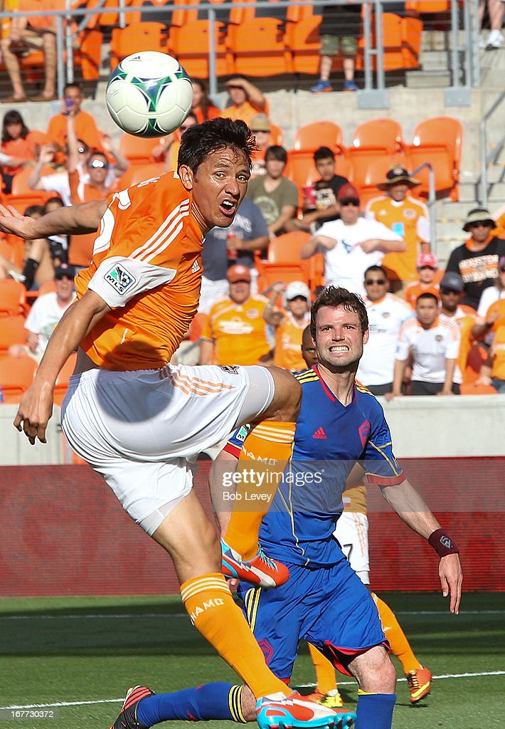 Brian Ching #25 of the Houston Dynamo just misses getting his head on the ball against the Colorado Rapids at BBVA Compass Stadium on April 28, 2013 in Houston, Texas.