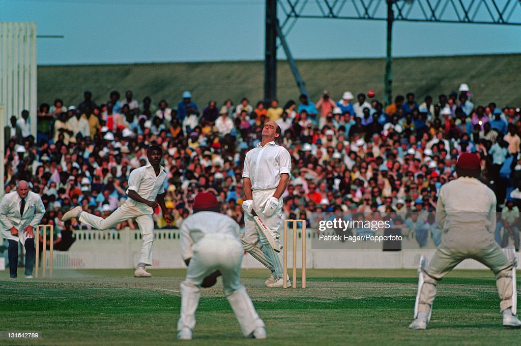 Brian Close takes a Holding bouncer on the chest, England v West Indies, 3rd Test, Old Trafford, Jul 1976.