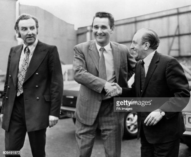 Brian Clough centre with Mike Bamber left Brighton's chairman and Harry Bloom right Brighton's ViceChairman after the Third Division Club persuaded...