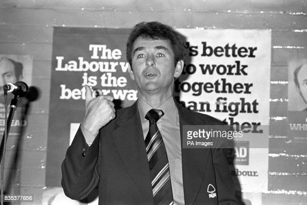 Brian Clough manager of Nottingham Forest at St Anne's Church Hall Derby speaking on behalf of Philip Whitehead Labour candidate for Derby North in...