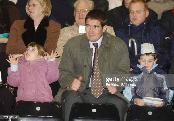 Brian Clough's son Nigel Clough sat with his two children at the memorial service for his father Brian Clough at Derby's Pride Park stadium Derby The...