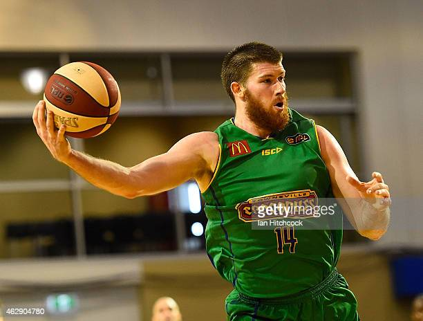 Brian Conklin of the Crocodiles catches the ball during the round 18 NBL match between the Townsville Crocodiles and New Zealand Breakers at the...