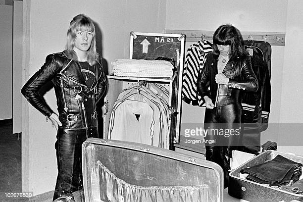 Brian Connolly and Andy Scott of The Sweet backstage in the dressing room in April 1975 in Copenhagen Denmark