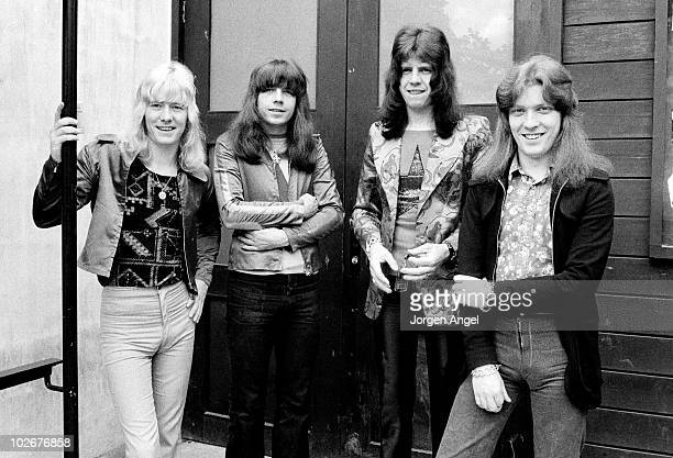 Brian Connolly Andy Scott Mick Tucker and Steve Priest of The Sweet pose for a group portrait in Tivoli Gardens in May 1972 in Copenhagen Denmark