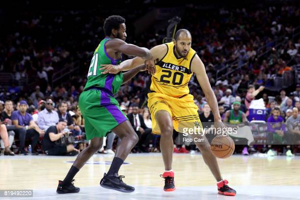 Brian Cook of Killer 3s handles the ball against Kareem Rush of the 3 Headed Monsters during week four of the BIG3 three on three basketball league...