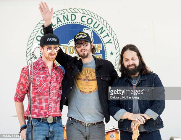 Brian Courage Mike Montail and Jonathan Bonilla of The Hollis Brown Band at the RocklandBergen Music Festival at German Masonic Park on June 24 2017...