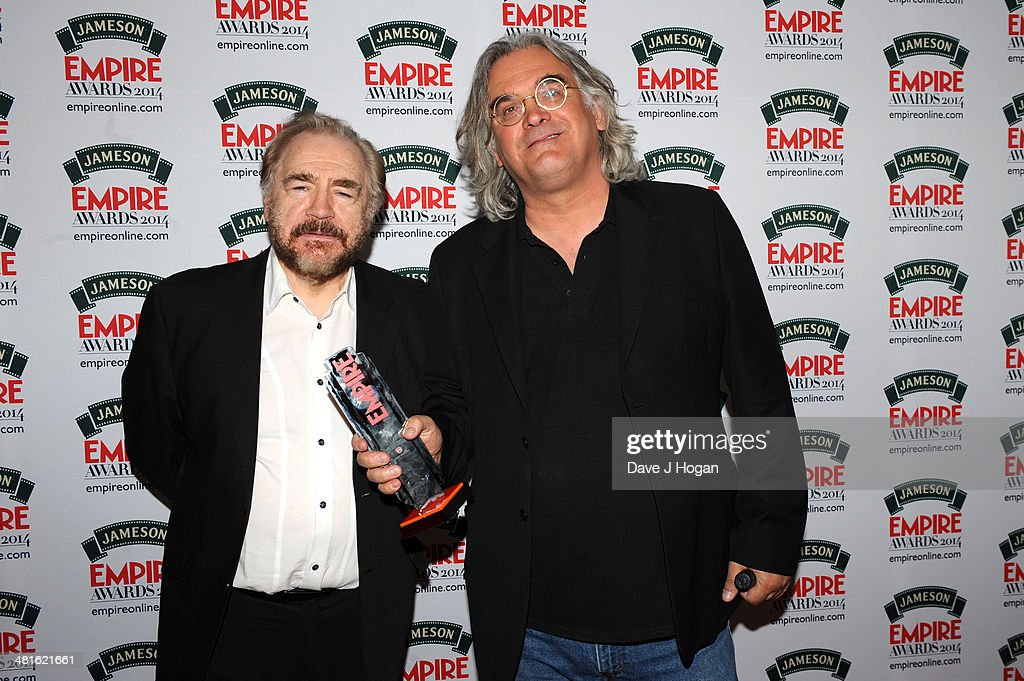 Brian Cox and <a gi-track='captionPersonalityLinkClicked' href=/galleries/search?phrase=Paul+Greengrass&family=editorial&specificpeople=240256 ng-click='$event.stopPropagation()'>Paul Greengrass</a> pose in the press room at the Jameson Empire Film Awards 2014 at The Grosvenor House Hotel on March 30, 2014 in London, England.