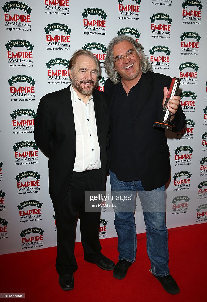 Brian Cox and <a gi-track='captionPersonalityLinkClicked' href=/galleries/search?phrase=Paul+Greengrass&family=editorial&specificpeople=240256 ng-click='$event.stopPropagation()'>Paul Greengrass</a>, winner of the Empire Inspiration award pose during the Jameson Empire Awards 2014 at the Grosvenor House Hotel on March 30, 2014 in London, England. Regarded as a relaxed end to the awards show season, the Jameson Empire Awards celebrate the film industry's success stories of the year with winners being voted for entirely by members of the public. Visit empireonline.com/awards2014 for more information.