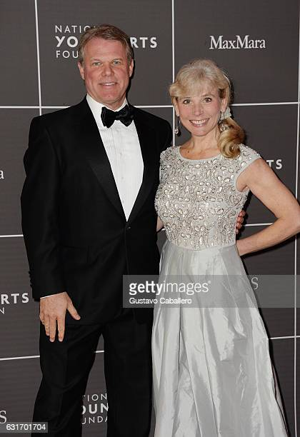 Brian Cullinan and Andrea Cullinan attend 2017 YoungArts Backyard Ball at YoungArts Campus on January 14 2017 in Miami Florida