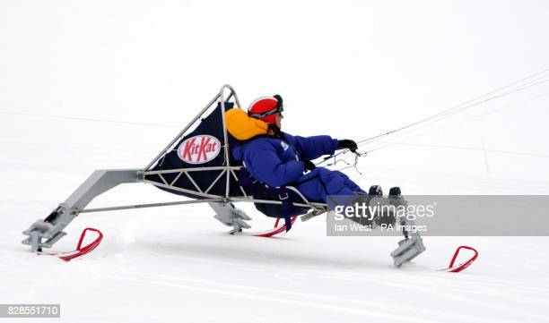 Brian Cunningham aged 59 from Northern Ireland piloting the stateoftheart Kit Kat kitepowered buggy designed by Williams F1 engineer Keiron Bradley...