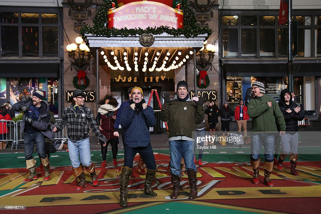 Brian D'arcy James and Brad Oscar and the cast of Something Rotten perform during Macy's Thanksgiving Day Parade rehearsals at Herald Square on November 24, 2015 in New York City.