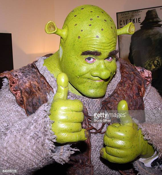 Brian d'Arcy James as 'Shrek' poses backstage on opening night of 'Shrek The Musical' at the at Broadway Theatre on December 14 2008 in New York City