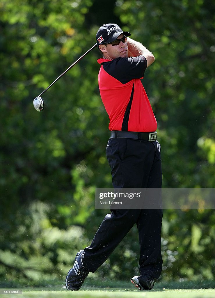 Brian Davis of England tees off the 16th hole during round one of The Barclays on August 27 2009 at Liberty National in Jersey City New Jersey