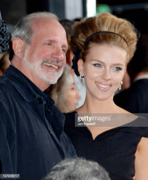 Brian De Palma director and Scarlett Johansson during 'The Black Dahlia' Los Angeles Premiere Arrivals at Academy of Motion Picture Arts and Sciences...