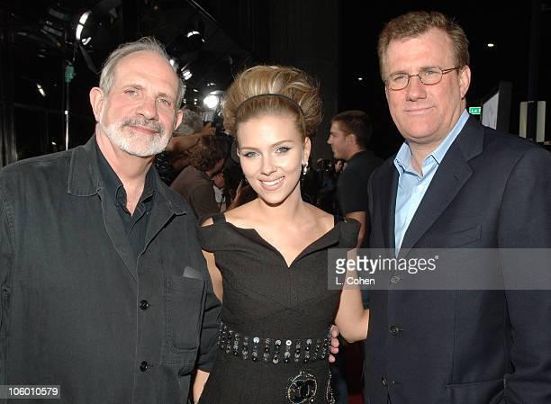Brian De Palma director Scarlett Johansson and David Linde cochairman of Universal Pictures