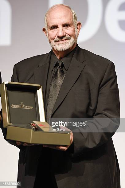 Brian De Palma on stage with his awards attends the JaegerLeCoultre Glory to the Filmmaker 2015 Award Ceremony during the 72nd Venice Film Festival...