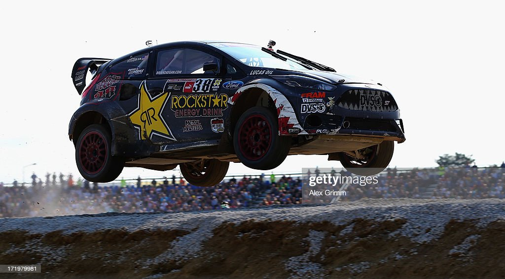 <a gi-track='captionPersonalityLinkClicked' href=/galleries/search?phrase=Brian+Deegan&family=editorial&specificpeople=789819 ng-click='$event.stopPropagation()'>Brian Deegan</a> of the United States competes in the Ford RallyCross competition on Day 4 of the X-Games at FroettmaRing on June 30, 2013 in Munich, Germany.