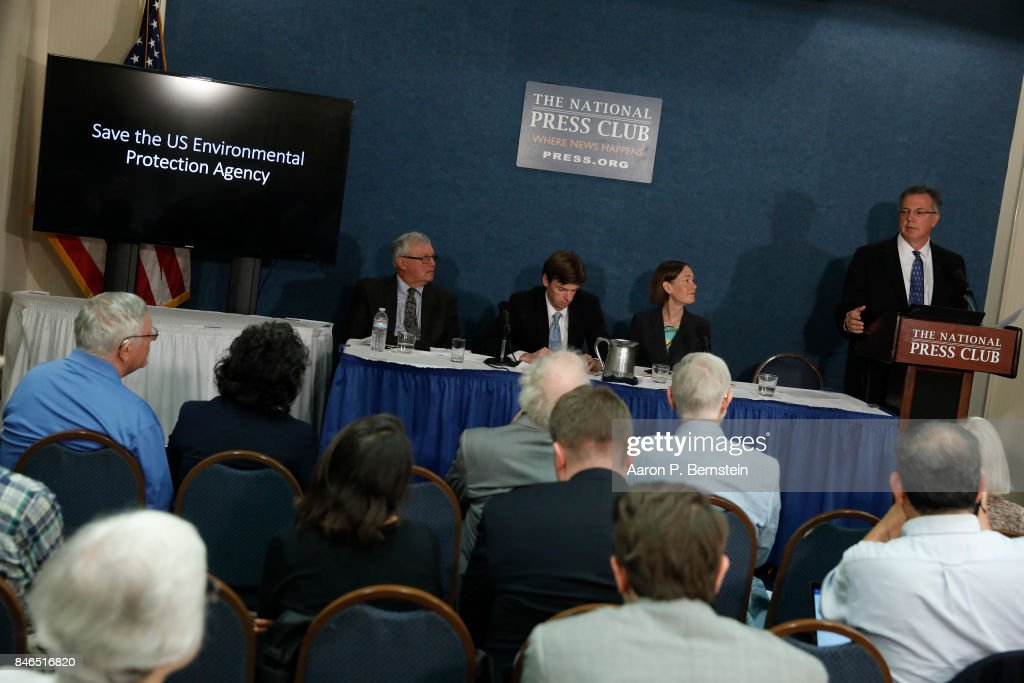 Brian DeWyngaert, chief of staff for the American Federation of Government Employees, speaks at a news conference held by Save the US EPA September 13, 2017 in Washington, DC. Activists are speaking out against cutbacks at the EPA instituted by the Trump administration.