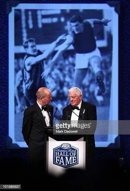 Brian Dixon is interviewed by Tim Lane after he was made an inductee of the AFL Hall of Fame at the 2010 Australian Football Hall of Fame induction...