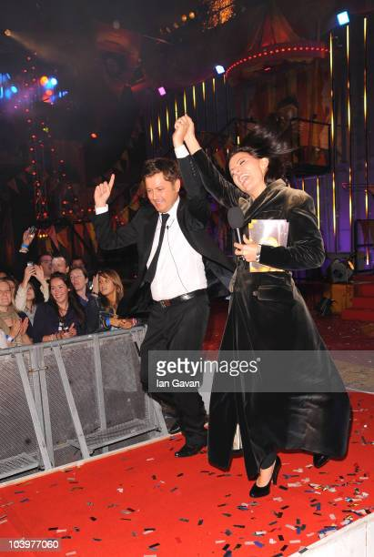 Brian Dowling and Davina McCall as Brian wins the final of Ultimate Big Brother on September 10 2010 in Borehamwood England