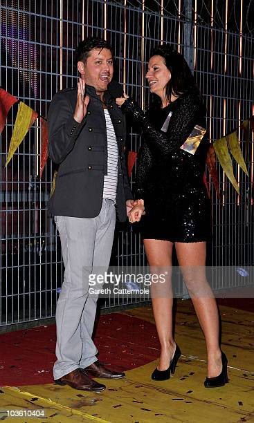 Brian Dowling poses with Davina McCall as he enters the final Ultimate Big Brother 2010 House at Elstree Studios on August 24 2010 in Borehamwood...