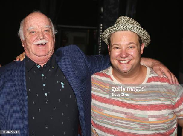 Brian Doyle Murray and Josh Lamon pose backstage at the hit musical based on the 1993 Bill Murray film 'Groundhog Day' on Broadway at The August...
