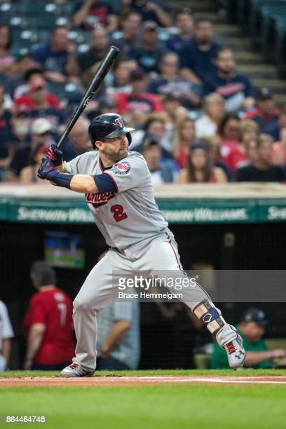 Brian Dozier of the Minnesota Twins bats against the Cleveland Indians on September 26 2017 at Progressive Field in Cleveland Ohio The Twins defeated...