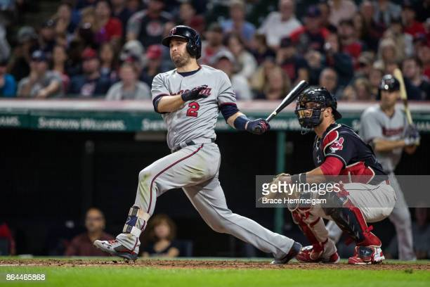 Brian Dozier of the Minnesota Twins bats against the Cleveland Indians on September 27 2017 at Progressive Field in Cleveland Ohio The Indians...