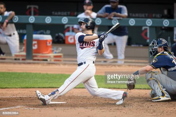 Brian Dozier of the Minnesota Twins bats against the Milwaukee Brewers on August 7 2017 at Target Field in Minneapolis Minnesota The Twins defeated...