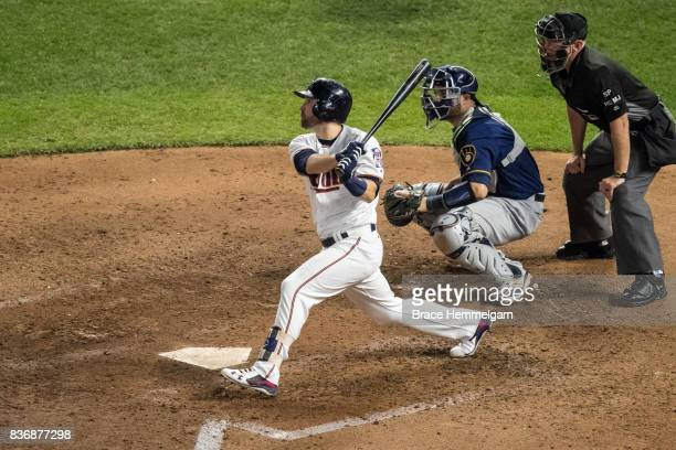 Brian Dozier of the Minnesota Twins bats against the Milwaukee Brewers on August 8 2017 at Target Field in Minneapolis Minnesota The Twins defeated...