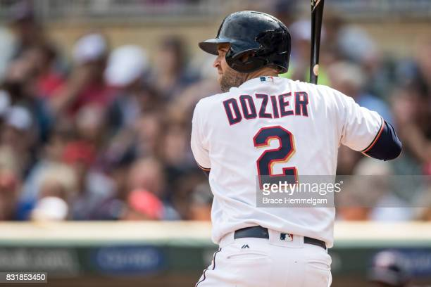 Brian Dozier of the Minnesota Twins bats against the Texas Rangers on August 6 2017 at Target Field in Minneapolis Minnesota The Twins defeated the...