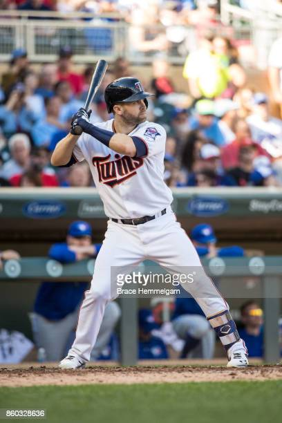Brian Dozier of the Minnesota Twins bats against the Toronto Blue Jays on September 17 2017 at Target Field in Minneapolis Minnesota The Twins...