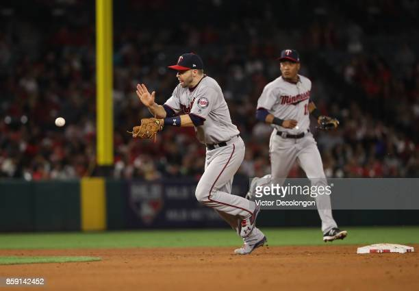 Brian Dozier of the Minnesota Twins fields a ground ball to second in the fifth inning during the MLB game against the Los Angeles Angels of Anaheim...