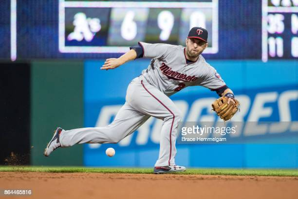 Brian Dozier of the Minnesota Twins fields against the Cleveland Indians on September 27 2017 at Progressive Field in Cleveland Ohio The Indians...