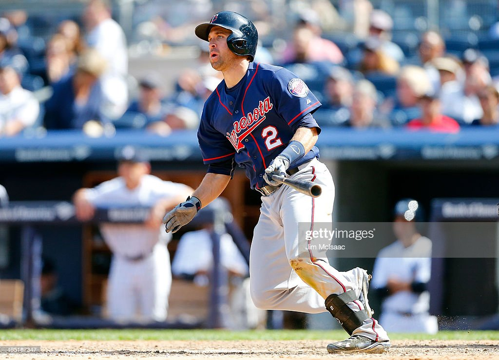 <a gi-track='captionPersonalityLinkClicked' href=/galleries/search?phrase=Brian+Dozier&family=editorial&specificpeople=7553002 ng-click='$event.stopPropagation()'>Brian Dozier</a> #2 of the Minnesota Twins follows through on a ninth inning two run double against the New York Yankees at Yankee Stadium on June 1, 2014 in the Bronx borough of New York City.