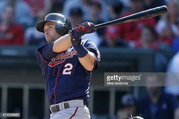 Brian Dozier of the Minnesota Twins hits a RBI double in the third inning against the Chicago White Sox at US Cellular Field on May 23 2015 in...