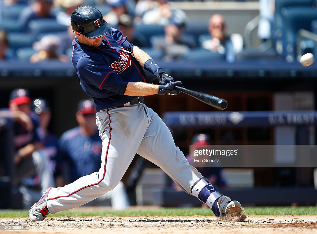 <a gi-track='captionPersonalityLinkClicked' href=/galleries/search?phrase=Brian+Dozier&family=editorial&specificpeople=7553002 ng-click='$event.stopPropagation()'>Brian Dozier</a> #2 of the Minnesota Twins hits a two run home run in the sixth inning against the New York Yankees during a game at Yankee Stadium on June 26, 2016 in the Bronx borough of New York City.