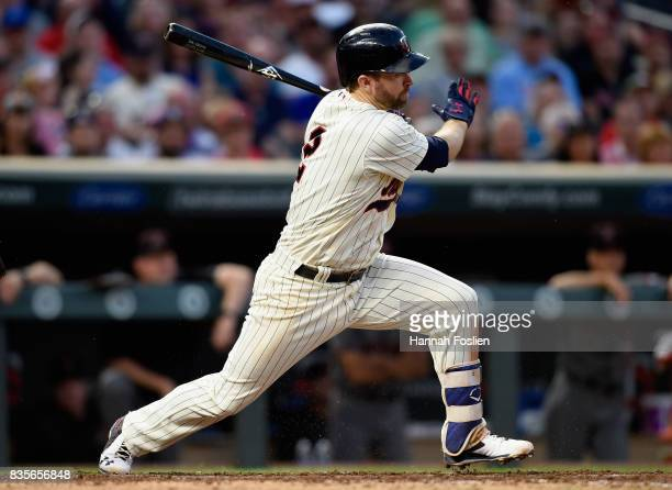 Brian Dozier of the Minnesota Twins hits an RBI single against the Arizona Diamondbacks during the fourth inning of the game on August 19 2017 at...