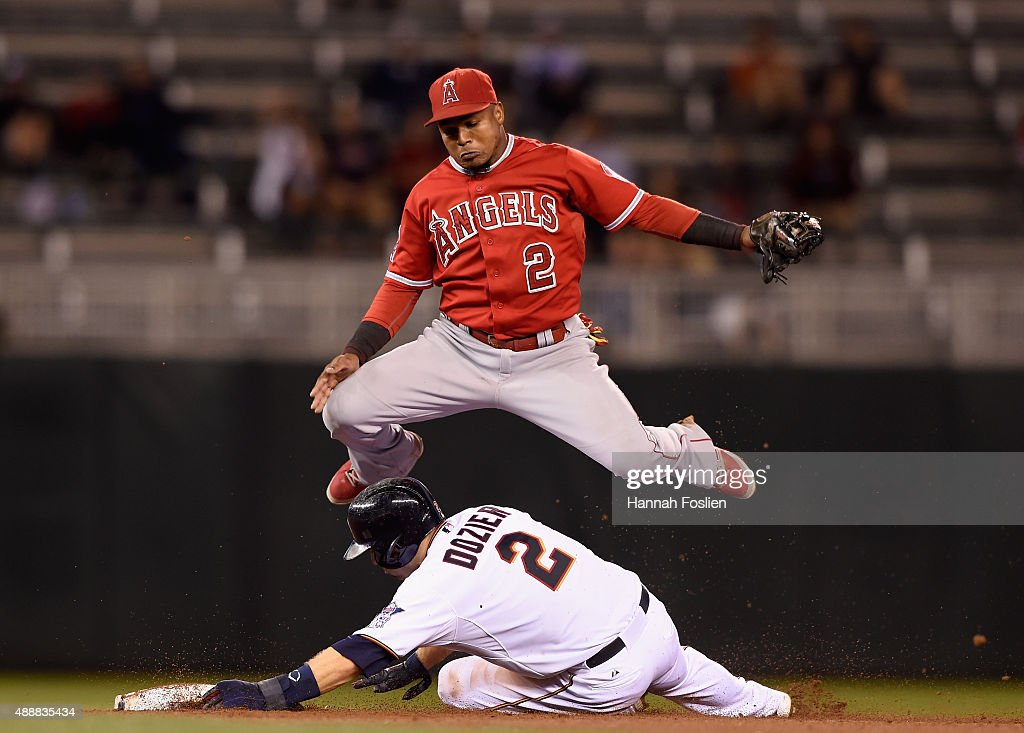 <a gi-track='captionPersonalityLinkClicked' href=/galleries/search?phrase=Brian+Dozier&family=editorial&specificpeople=7553002 ng-click='$event.stopPropagation()'>Brian Dozier</a> #2 of the Minnesota Twins is out at second base as <a gi-track='captionPersonalityLinkClicked' href=/galleries/search?phrase=Erick+Aybar&family=editorial&specificpeople=551376 ng-click='$event.stopPropagation()'>Erick Aybar</a> #2 of the Los Angeles Angels of Anaheim jumps out off the way during the eighth inning of the game on September 17, 2015 at Target Field in Minneapolis, Minnesota.