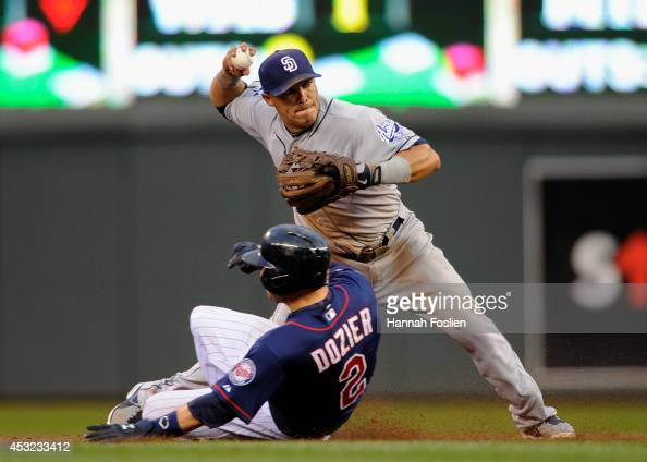 Brian Dozier of the Minnesota Twins is out at second base as Everth Cabrera of the San Diego Padres turns a double play during the third inning of...